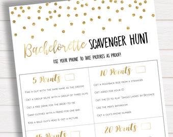 Bachelorette Scavenger Hunt Game, Gold Confetti Bachelorette Party, Hen Party, Scavenger Game, Bachelorette Printables, Instant Download
