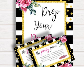 Drop your Panties Kate Spade Bridal Shower Game, Printable Lingerie Game, Black White Stripes Gold Glitter, Bachelorette Hen Party, Bridal