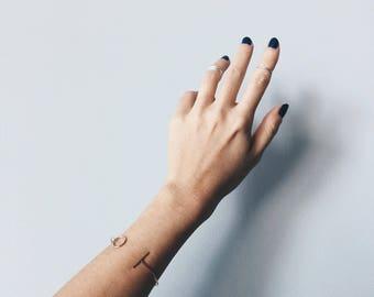 Rose gold chevron geometric bracelet, Rose gold plated cuff bracelet, Minimal geometric bracelet, Minimal jewelry (B36)