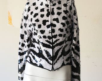 80's Sequin Black and White Jacket