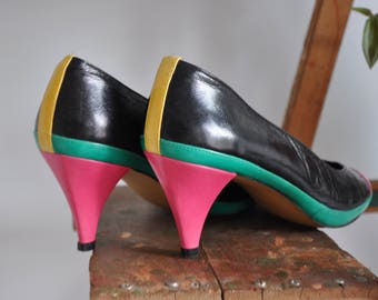 80s Colorblock Heels // Size 9 // Black Neon Retro