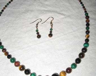Tiger Eye....Multi Color Beaded Necklace and Earrings...Simple Elegance..