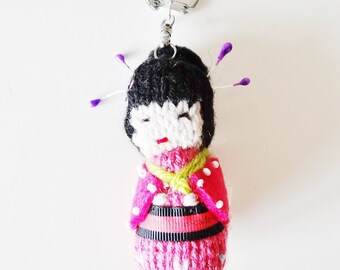 Geisha Keychain / bag geisha / kawaii / knit / handmade