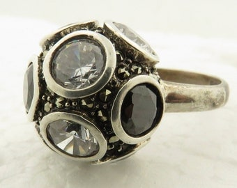 Vintage Sterling Silver Marcasite Faceted Crystal Ball Ring / 7.5