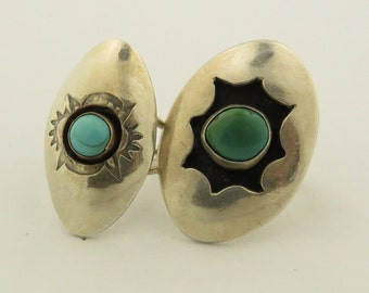 2 Vintage Sterling Silver Natural Blue & Green Turquoise Shield Rings.