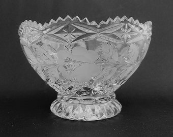 Sale. Footed Crystal Bowl with Etched Rose Design, Crystal Bowl, 6 Inch  Tall, German, Mid Century