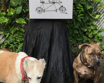 Pit Bull & Greyhound Riding A Bike Art Print By Maria B. Hand Drawn Screen Print Dogs On Bicycle Canvas Art.