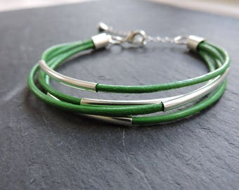 Green leather multi-strand bracelet with silver accents - Silver tube wrap bracelet - Emerald green leather boho modern silver bracelet