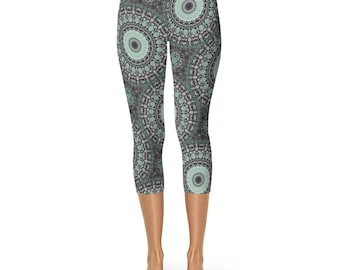 Capri Printed Leggings - Yoga Print Leggings, Ladies Yoga Leggings, Yoga Pants, Fashion Leggings, Womens Stretch Pants