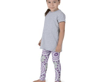 Girls Funky Leggings, Wild and Fun Kids Leggings, Purple and Green Children's Yoga Pants