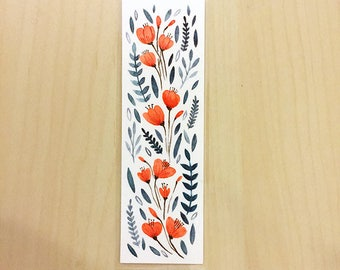 ORIGINAL Floral Bookmark - Hand Painted Watercolour - Design 5