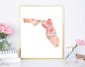 Florida State Flower Watercolor 8x10 Print  - DIY Printable - Digital Download Print - Chic Wall Decor - Watercolor Floral State -  Wall art