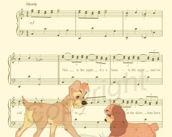 Lady and the Tramp Cement Sheet Music Art Print