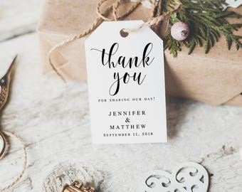 Wedding Favor Tags Thank You Printable Tag Template Gift