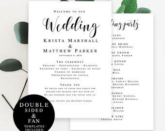 Wedding fan template Program fan template Editable DIY Editable wedding program Wedding fan program template Rustic wedding program #vm31