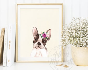French bulldog Print, French Bulldog Art, French Bulldog Decor, Dog Nursery Art, Puppy Print, Nursery Wall Art, Dog Wall Art, Gifts, 27W