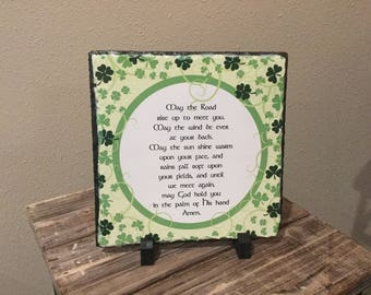 """May the Road Rise up to meet you - 7.5"""" x 7.5"""" Sublimation Slate Home Decor"""