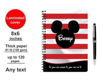 Disney Autograph book Personalized Mickey Mouse Custom Signature vacation photo autographs Kids boys Gift 2017 2018 Red for boy books Paris