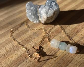 Dazzling Aquamarine Moonstone necklace