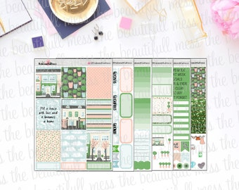Spring Town Planner Stickers / Erin Condren Vertical Weekly Stickers / Full Kit