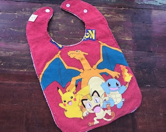 Pokemon Upcycled Recycled T-Shirt Bib with Terry Cloth Back  - Red - OOAK