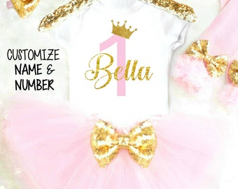 1st Birthday Girl Outfit Pink Tutu Birthday Outfit 1st Birthday Outfits Personalized First Birthday Outfit Pink and Gold Cake Smash Outfit
