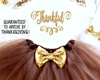 Thanksgiving Outfit Baby Girl Thanksgiving Outfit Thanksgiving Onesie® Girl 1st Thanksgiving Outfit Girl Thankful Onesie® Thanksgiving tutu