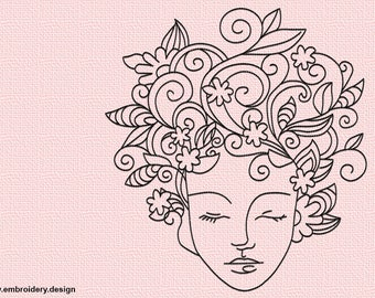 Floral girl embroidery design - downloadable - 3 sizes