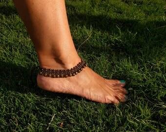 macrame beaded anklet