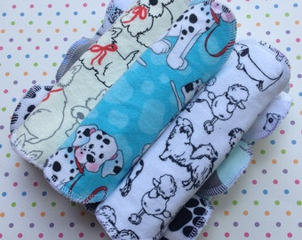 Puppies, 3-7-14, Reusable Cloth Pantyliners, Panty Liners, 100% Cotton Flannel, 3 sizes, Winged