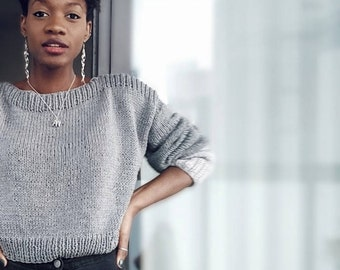 Knit cropped jumper | Etsy