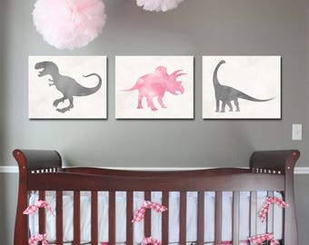 Dinosaur Nursery - Girl Dinosaur - Dinosaur Art - Nursery Decor - Baby Girl Decor - Dinosaur Prints - Dinosaur Decor - Pink and Grey Nursery