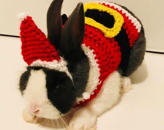Rabbit Santa Clothes, Pet Santa Hat, Rabbit Santa Outfit, Pet Christmas Hat, Small Santa Hat, Rabbit Christmas Hat, Rabbit Clothes