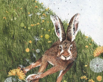 """Watercolor Print, The So and So Hares #1 by Maggie Vandewalle, 8"""" x 10"""" print matted to fit an 11"""" x 14"""" frame"""
