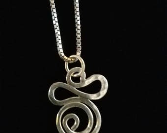"""CP002: Solid Sterling Silver Box Chain 17.75"""" with Solid Silver Hammered Swirl Amethyst Cabochon Pendant"""