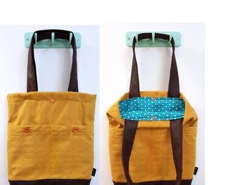 Tote bag, shoulder bag, vegan bag, Handbag, work tote, work bag, Everyday bag, canvas handbag, canvas tote, yellow bag, yellow handbag
