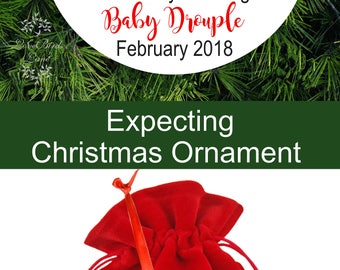 Woodland Deer Anxiously Awaiting Baby Christmas Ornament- Expecting Ornament - Baby Deer We're Expecting Christmas Ornament