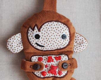 Monkey sensory rattle plush toy for crib car seat baby shower gift