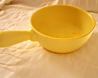 Vintage Soft Vibrant Yellow Ceramic Casserole Pot with Stick Handle- Unmarked