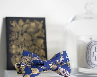 Wedding Dog Bow Tie Collar, Cat Bow Tie Collar, Rifle Paper Co, Navy Gold, Floral Dog Collar, Navy Blue Dog Bow Tie, Navy Cat Collar