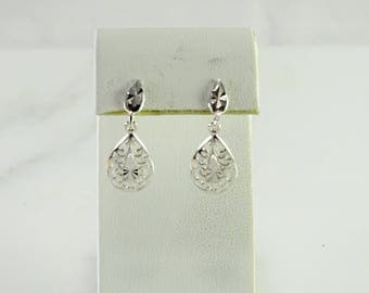 Sterling Filigree Pierced Earrings