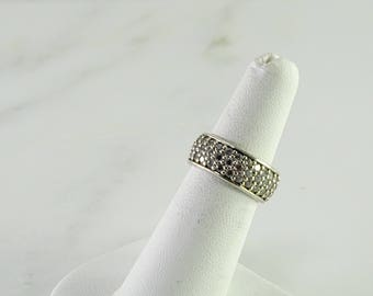 Clear Stone Sterling Band Size 6