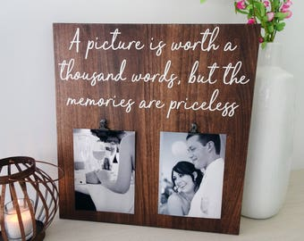 Wood Photo Frame - Picture Frame Quote - Family Picture Frame - Living Room Wall Art - Gallery Wall Decor - Wood Photo Sign - Wood Decor