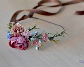 Wedding Fall accessories hair terracotta Flower crown Outdoor wedding autumn halo beige floral headband bride wreath berry flowers Crown