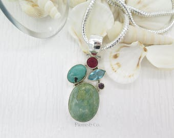 Aquamarine Turquoise and Ruby Sterling Silver Pendant and Chain