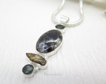 Dendritic Agate Fresh Water Pearl and Emerald Quartz Sterling Silver Pendant and Chain