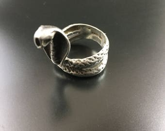 Sterling silver cobra ring, size 6.5, weight 9.2 grams