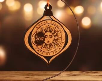 Solar Eclipse 2017 Commemorative Ornament, Laser Cut Hardwood