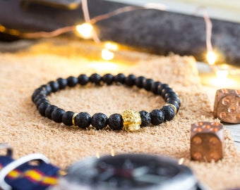 6mm - Mens bracelet, Matte black onyx & lava stone beaded stretchy bracelet with gold skull, custom made bead bracelet, mens bracelet