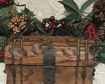 Antique Wooden Rustic Jewelry Box Mini Trunk Cabin Decor